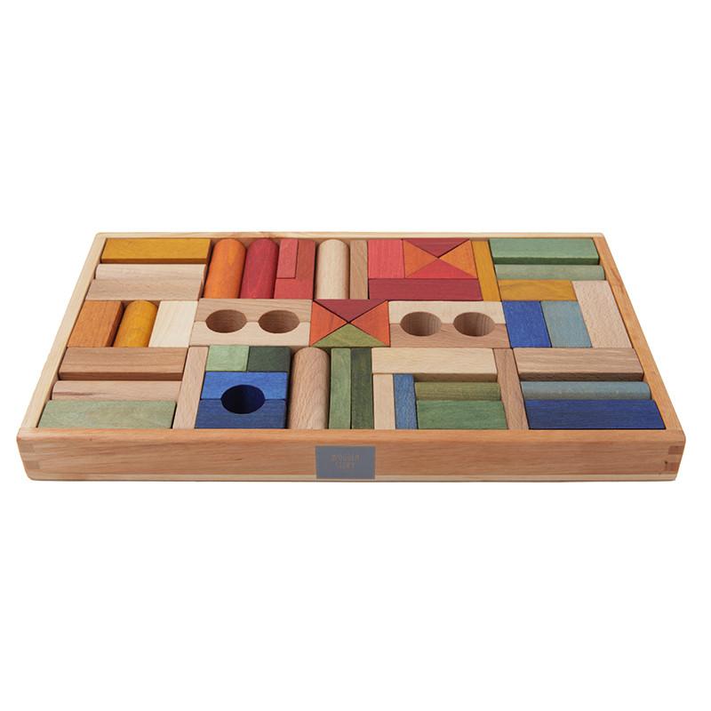 wooden blocks rainbow 54 pieces stadtlandkind