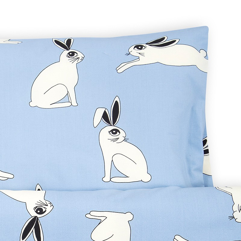 Schlafen Bettwäsche Baby Rabbit Light Blue Stadtlandkind